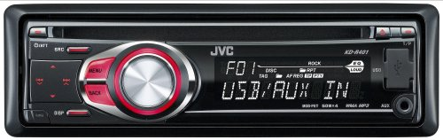 JVC KD-R401 CD/MP3/USB Car Stereo with Front Aux Input -Red Illumination