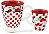 Jessie Steele Mommy-and-Me Kitchen Cherry 3 Piece Mug Set