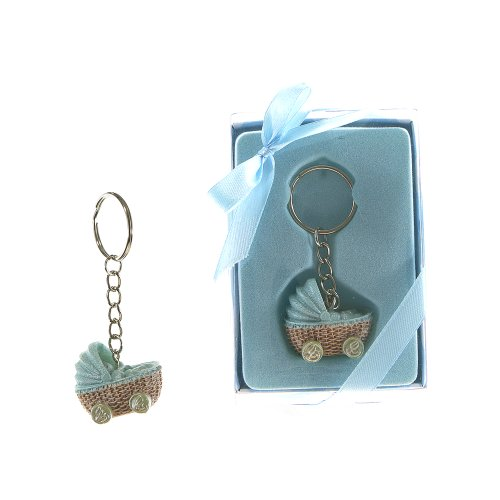 "Lunaura Baby Keepsake - Set of 12 ""Boy"" Baby Stroller Key Chain Favors - Blue"