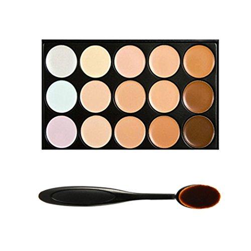 Boolavard Professional 15 Colore del camuffamento di Concealer Contorno Occhi Crema Viso di trucco con cosmetici ovale compone la spazzola (15 colori)