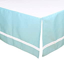 Teal Blue Tailored Crib Dust Ruffle with White Stripe by The Peanut Shell