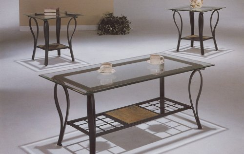 Buy low price matrix coffee table set wrought iron with for Iron coffee table set