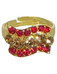 Red And Light Brown Stone Studded Adjustable Ring - Stone And Metal