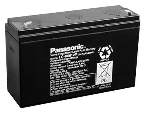 Panasonic LC-R0612P Black Medium 6V 12Ah VRLA Battery with F1 Terminal