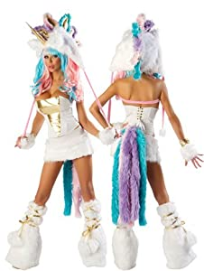 Faux Fur Unicorn Sexy Complete Costume Set - Small