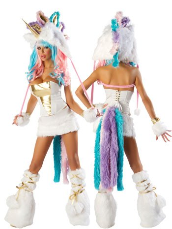 Faux Fur Unicorn Sexy Costume Skirt Set - MEDIUM