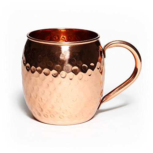 BLUE NIGHT Authentic Handcrafted Moscow Mules Copper Mugs 100% Pure Copper Solid Moscow Mule Mug 24 Ounce Extra Large Size No Lining Hammered Finish set of-1 (Extra Large Ring Guard compare prices)