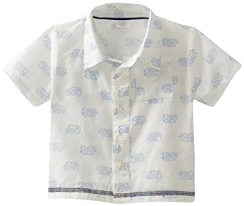 egg by suzan lazar Baby-boys Infant Voile Button-Down Shirt,Taj,3-6 Months