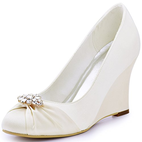 ElegantPark EP2005AL Women's Pumps Round Toe Wedge Heel Rhinestones Satin Wedding Bridal Shoes Ivory US 9