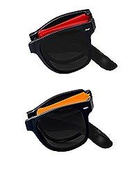 Shara UV Protected Foldable wayfarer unisex sunglasses set of 2 combo pack ( Black lens)(SHA/SUNGLASSES/FOLDREDOR)