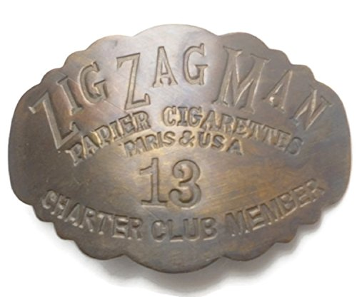 Zig Zag Man Brass Badge Pin - Cigarette Rolling Papers - Charter Club Member (Vaporizer Pen Thin compare prices)