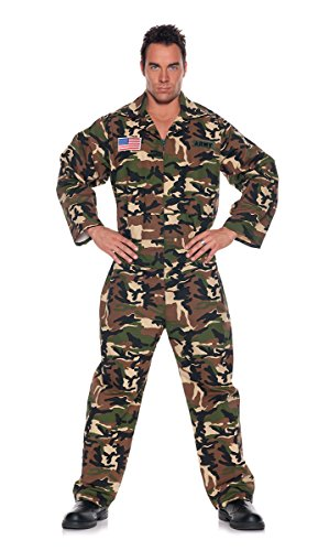 Underwraps Men's Plus-Size Army Jumpsuit
