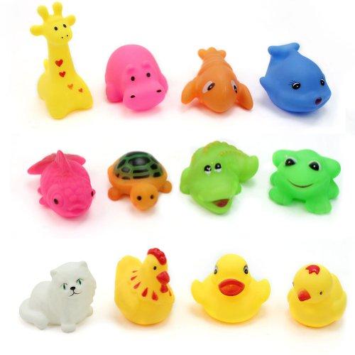 12X Quietsche Dusche Tiere Badespielzeug Bade Spielzeug Badewannenspielzeug