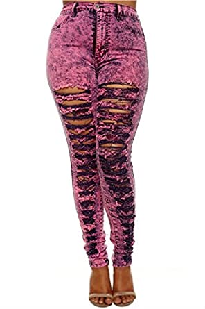 Plus Size 1X 2X 3X Distressed Ripped Neon Pink Denim High Waisted Jeans