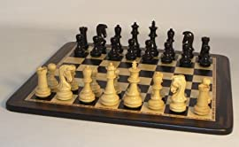 WW Chess Wood Chess Set - Ebony Victorious DQ Birdseye Board