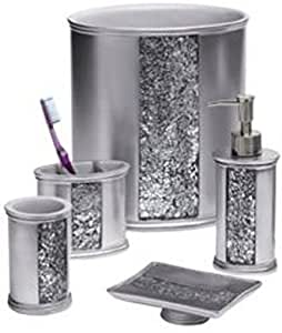 Popular bath sinatra silver 5 pc bath for Silver bath accessories set