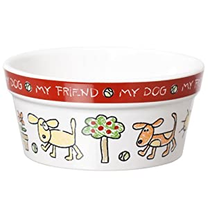 Signature Housewares Color Me Happy Dog Bowl, Extra Small