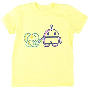 Jessy & Jack Logo Gender-Neutral Kids' Elephant and Robot Toddler T-shirt 3-4T Lemon