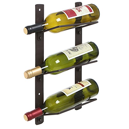 Modern Brown Metal Wire Wall Mounted Floating Style 3 Bottle Wine Holder Display Shelves / Rack (Hanging Wine Rack 3 compare prices)