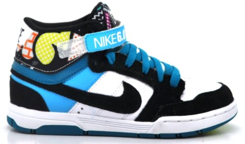 Nike 6.0 Mogan Mid Junior (334027-107) (11 C, White/Black-Bltc Blue-Glass Bl)