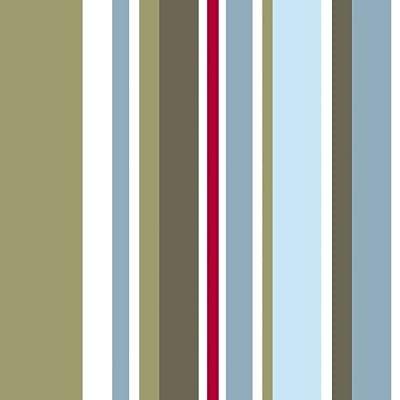Long Island Stripe - Kids @ Home - WALLPAPER - Dark Green / Blue / Red