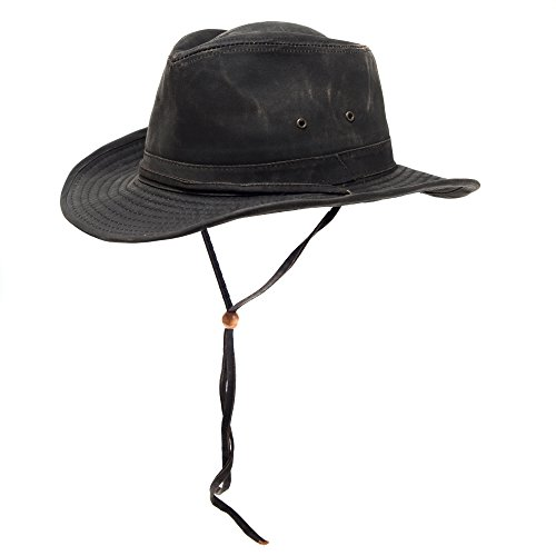 3X Distressed Cotton Water Repellent Aussie Outback Hat, Shapeable Brim, Chin Strap (Large) (Bush Hat Leather compare prices)