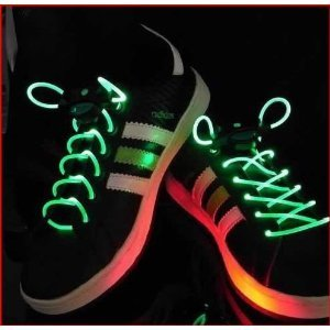Water & Wood E4Worlds Kids Green Glow In The Dark Sports Led Shoestring Night Running Golf Skate Shoelaces