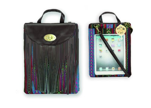 Chocolate Multi Colored Pad Pocket Satchel Messenger Apple Ipad Handbag/Case