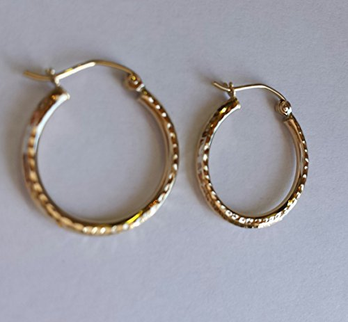 Small 14k Yellow Gold Diamond Cut Hoop Earrings, (2mm Tube) (20mm)