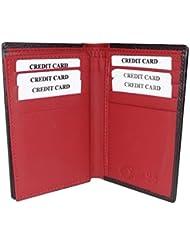 Style98 Black And Red Designer Genuine Leather Traveller Case Card Holder Wallet With 12 Card Slots For Men And... - B01BDN5G6K