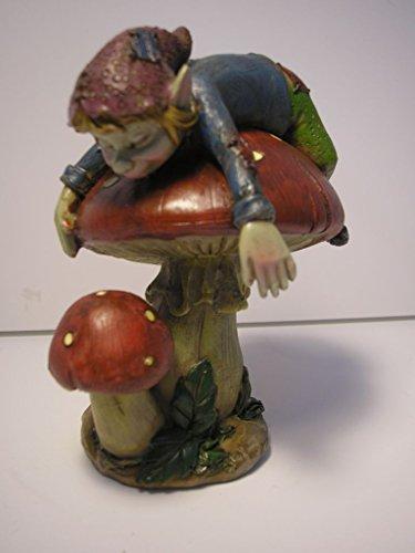 Pixies-Statuetta elfo persona su funghi