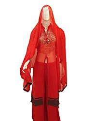 Women's Semi-Stitched Red Suit with palazzo