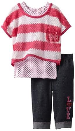 Little Lass Baby Girls' 3 Piece Crochet Set with Denim Look Legging, Fuchsia, 24 Months