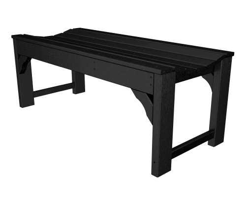 POLYWOOD BAB148BL Traditional Garden 48″ Backless Bench, Black