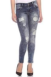Fasnoya Women's Distressed Skinny Fit Jeans