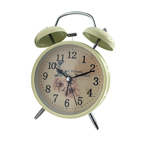 [High Quality]Hippih 4 Inch Quiet Clock Alarm Clock Loud Twin Bell Silent Quartz Analog Retro Vintage Bedside with Nightlight for Kids(Flower)