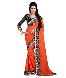 Women's Exclusive Orange Lace Border Work Sari with Blouse