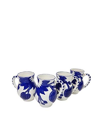 Le Souk Ceramique Jinane Set of 4 Large Mugs, Blue/White