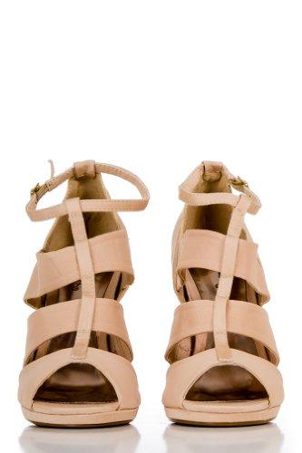 Chiffon T-Strap Heels in Nude