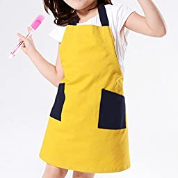 100% Cotten Cute Kids Aprons, Adjustable Neck Strap&Waist Tie and 2 Size Options for Adult and Children,S for Child