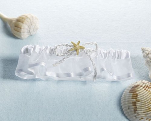Coastal Mist Beach/Seashell Wedding Garter