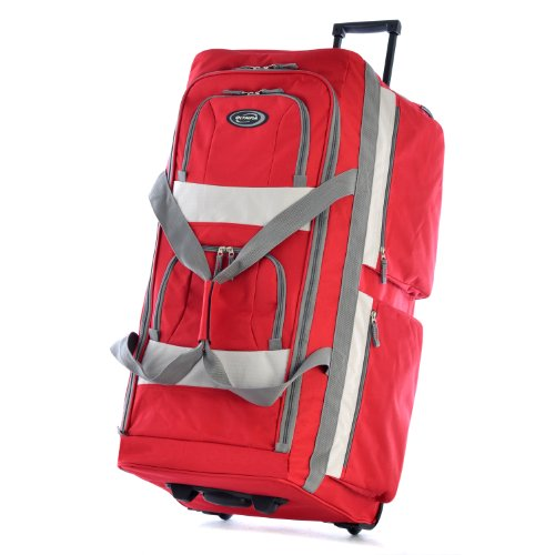 Olympia 33 Inch 8 Pocket Rolling Duffel, Red, One Size image