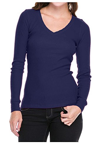 G2 Chic Women's Long Sleeve Thermal Solid Color Basic Sweater Top(TOP-SHT,DBLA1-M)
