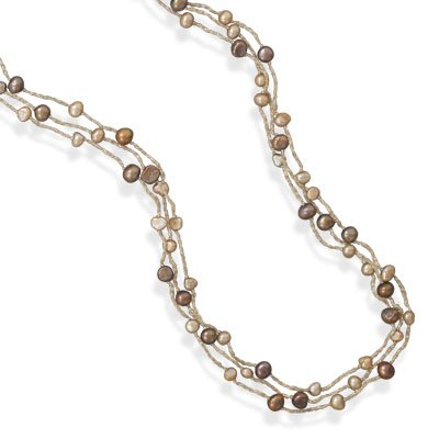 Triple Strand Cultured Freshwater Pearl Necklace, Sterling Silver