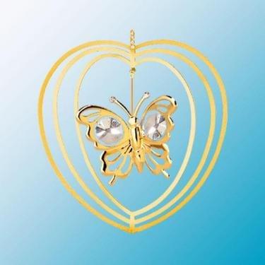 24K Gold Plated Butterfly Heart Ornament – Swarovski Crystal