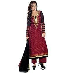 Paridhan Women's Brasso Unstitched Suit (SRPR 13101_Maroon_Free Size)