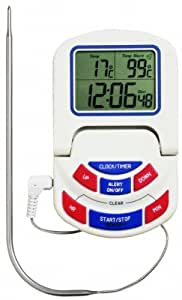 Oven Timer And Cooking Thermometer, Dual Display with Alarm & Detachable Probe