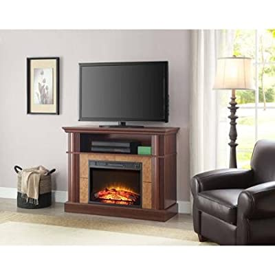 """Better Homes and Gardens Cherry Media Fireplace for TVs up to 54"""" Flame With Or Without Heat"""
