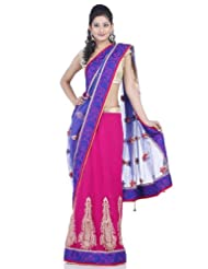 Chhabra555 Blue Net One Minute Saree - B00J4RP4DI