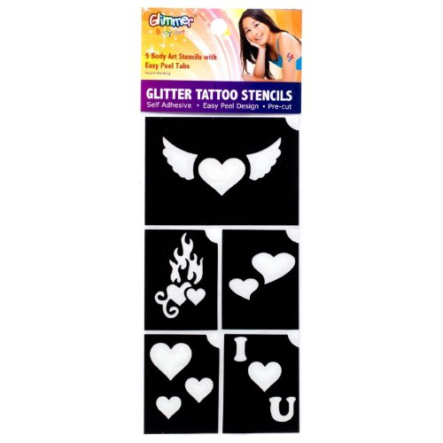Glimmer Body Art 5 Stencil Pack - Hearts - 1